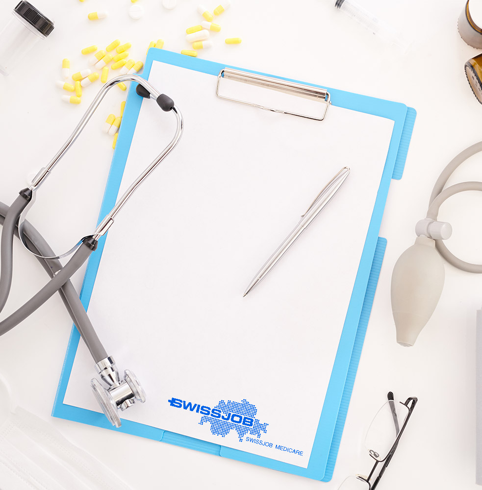 Top view flatlay of doctors tools on white desk composition of stethoscope and  clipboard, glasses and blood pressure monitor, copy space
